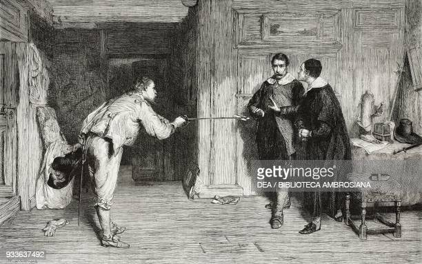 The challenge a Puritan's struggle between honour and conscience engraving from the painting by William Quiller Orchardson illustration from the...