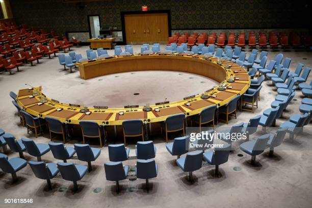 The chamber sits empty before the start of a UN Security Council meeting concerning the situation in Iran January 5 2018 in New York City At least...