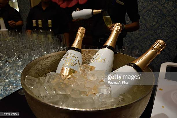 The champagne bar at the launch of master couturier Rohit Bal's first home collectibles and apparel line HusnETaairaat at Good Earth on November 12...