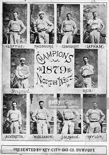 The Champion Baseball team of the Northwest the Dubuque Baseball Club announces their success on a printed card issued in 1879 in Dubuque Iowa Among...