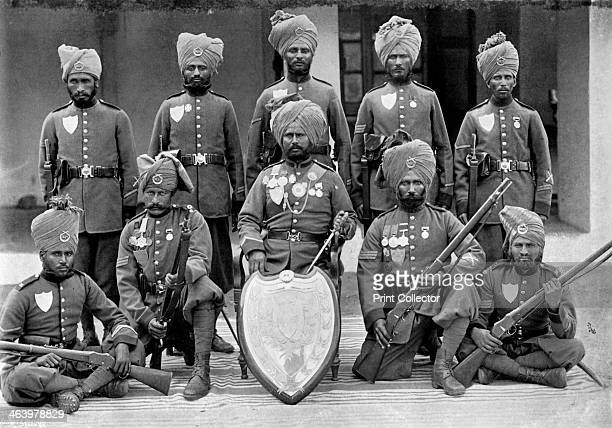 The champion shooting team of the 26th Punjab Regiment of Bengal Infantry 1896 A print from The Navy and Army Illustrated 16th October 1896