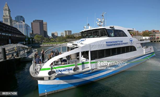 The Champion the new addition to the MBTA's commuter boat fleet has its christening ceremony near Long Wharf in Boston on Oct 18 2017