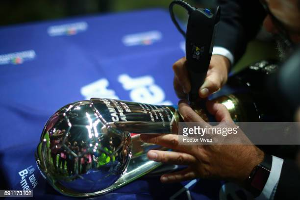 The champion trophy is engraved with the name of Tigres after the second leg of the Torneo Apertura 2017 Liga MX final between Monterrey and Tigres...
