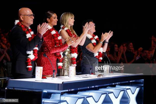 "The Champions Finals"" Episode 206 -- Pictured: Howie Mandel, Alesha Dixon, Heidi Klum, Simon Cowell --"