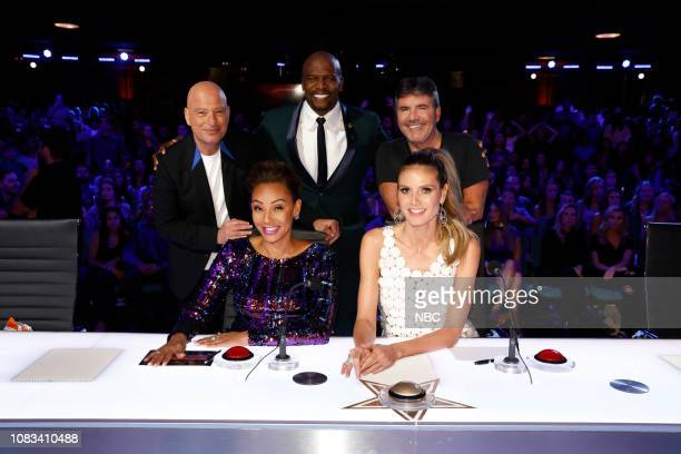 THE CHAMPIONS The Champions Four Episode 104 Pictured Howie Mandel Mel B Terry Crews Heidi Klum Simon Cowell