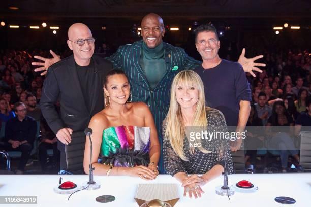 "The Champions Four"" Episode 204 -- Pictured: Howie Mandel, Alesha Dixon, Terry Crews, Heidi Klum, Simon Cowell --"