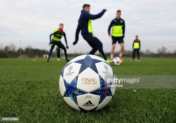 The Champions League ball during the Arsenal Training Session at London Colney on February 14, 2017 in St Albans, England.