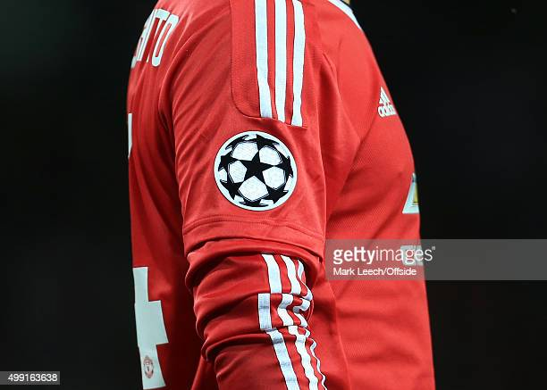 The Champions League logo back on the sleeves of the Man Utd shirts seen during the UEFA Champions League Qualifying Round Play Off First Leg match...