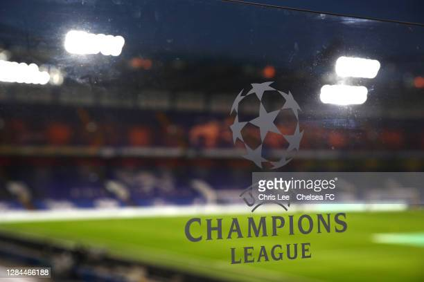 The Champions League logo is seen at Stamford Bridge during the Premier League match between Chelsea and Sheffield United at Stamford Bridge on...
