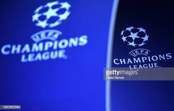 The Champions League logo is seen prior to the Group B match of the UEFA Champions League between FC Barcelona and FC Internazionale at Camp Nou on...