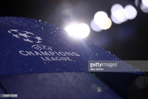 The Champions League logo is seen prior to the UEFA Champions League Group F match between Olympique Lyonnais and TSG 1899 Hoffenheim at Groupama...