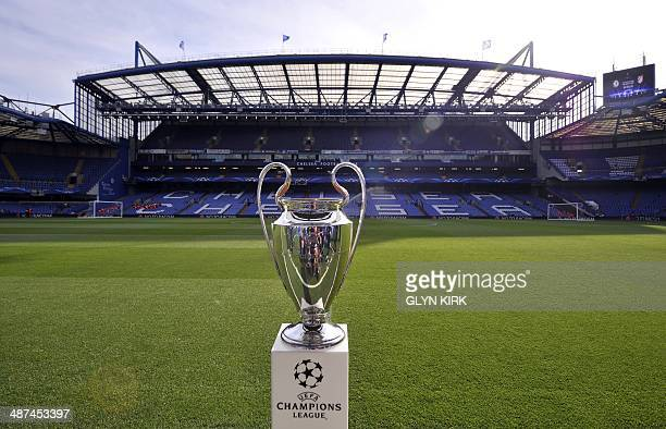 The Champions League trophy is displayed next to the pitch before the start of the UEFA Champions League semi-final second leg football match between...