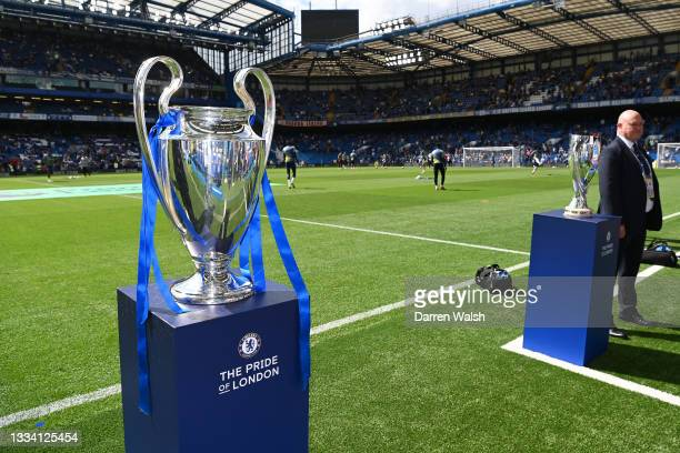 The Champions League Trophy is displayed on the pitch prior to the Premier League match between Chelsea and Crystal Palace at Stamford Bridge on...