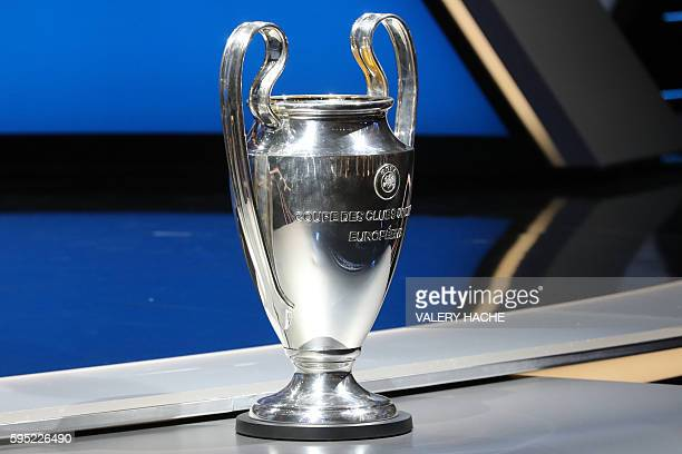 The Champions League trophy is pictured at the start of the UEFA Champions League Group stage draw ceremony on August 25 2016 in Monaco AFP PHOTO /...