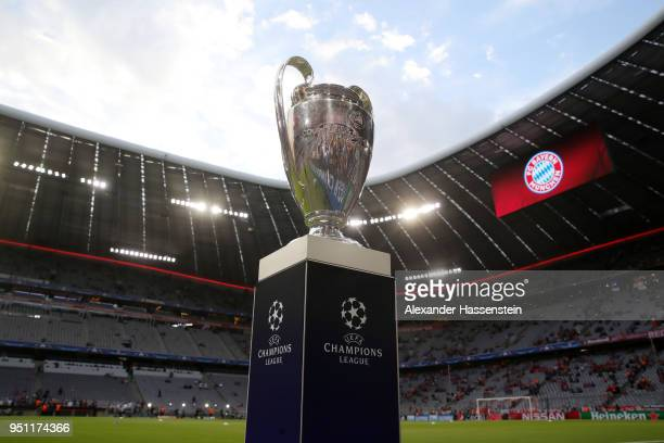 The Champions League trophy is pictured during the UEFA Champions League Semi Final First Leg match between Bayern Muenchen and Real Madrid at the...
