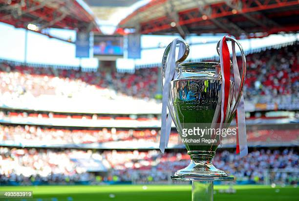 The Champions league trophy is seen ahead of the UEFA Champions League Final between Real Madrid and Atletico de Madrid at Estadio da Luz on May 24...