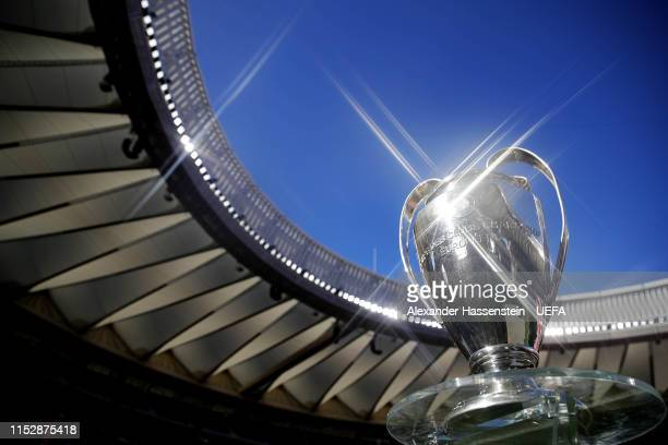 The Champions League Trophy is seen in the stadium on the eve of the UEFA Champions League Final between Tottenham Hotspur and Liverpool at Estadio...