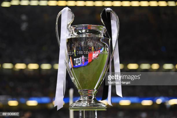 The Champions League Trophy is seen prior to the UEFA Champions League Final between Juventus and Real Madrid at National Stadium of Wales on June 3...
