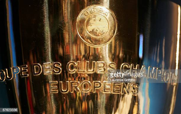 The Champions League trophy on display during the Arsenal press conference prior to the UEFA Champions League Final between Arsenal and Barcelona at...