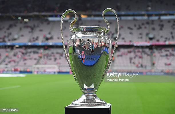 The Champions League trophy on display prior to UEFA Champions League semi final second leg match between FC Bayern Muenchen and Club Atletico de...