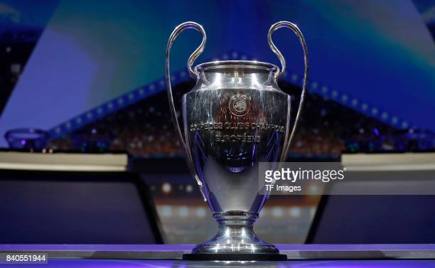 The Champions League Trophy stands on display during the UEFA Champions League Group stage draw ceremony at the Grimaldi Forum Monte Carlo in Monaco...