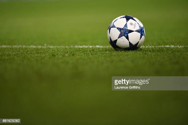 The Champions Leauge ball is seen during a Real Madrid training session prior to the UEFA Champions League Final between Juventus and Real Madrid at...