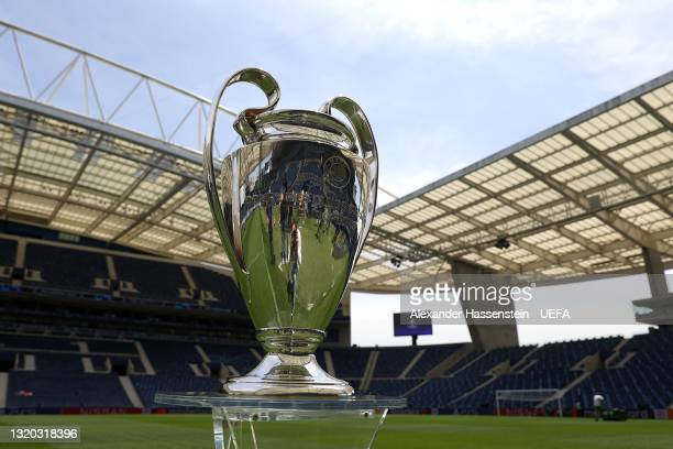 The Champions Legaue winners trophy is displayed ahead of the UEFA Champions League Final between Manchester City FC and Chelsea FC at Estadio do...