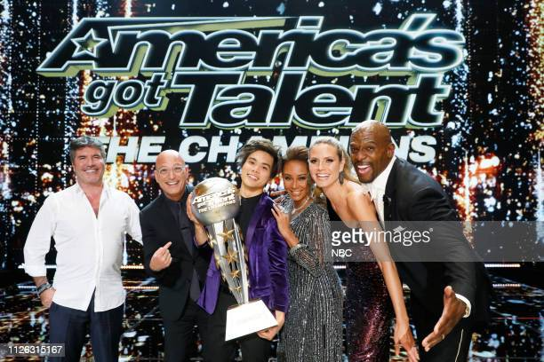 THE CHAMPIONS The Champions Results Finale Episode 107 Pictured Simon Cowell Howie Mandel Shin Lim Mel B Heidi Klum Terry Crews