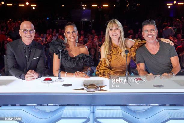 "The Champions Three"" Episode 203 -- Pictured: Howie Mandel, Alesha Dixon, Heidi Klum, Simon Cowell --"