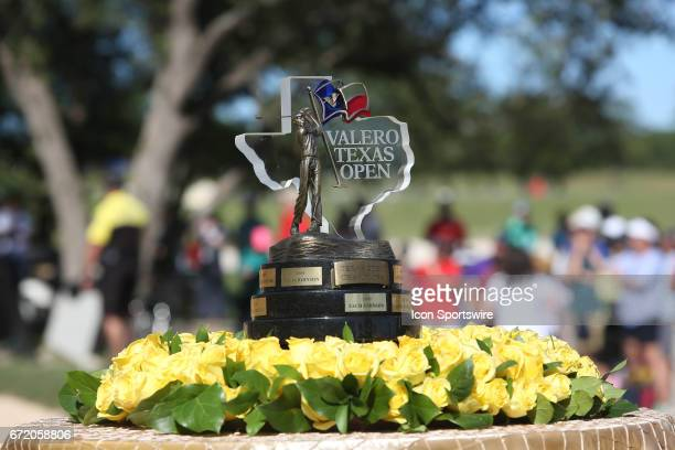The champion's trophy at the Valero Texas Open at the TPC San Antonio Oaks Course in San Antonio TX on April 23 2017