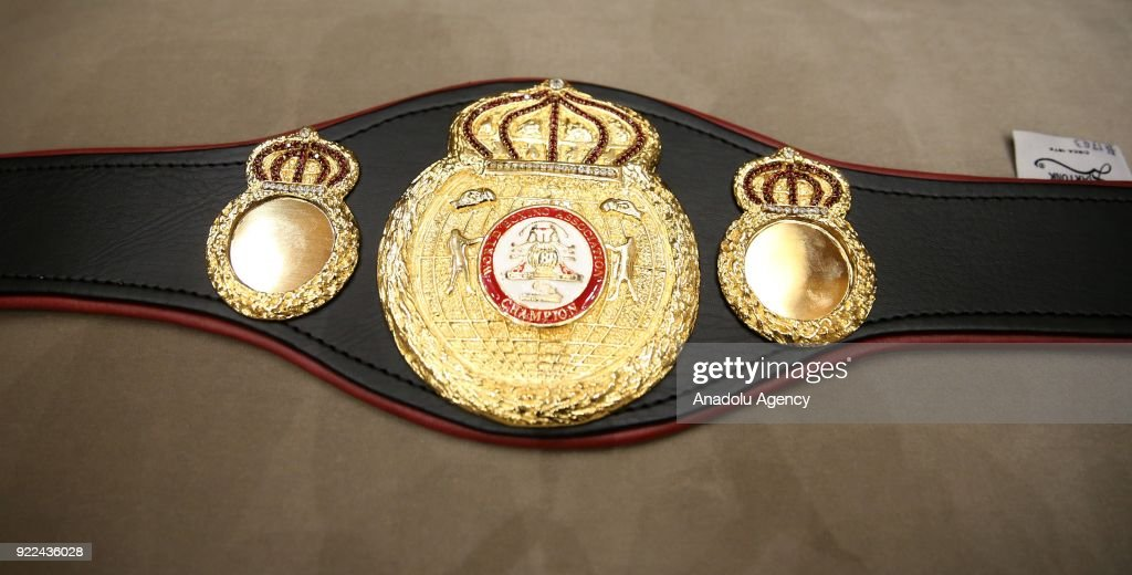 The championship belt of World Boxing Council, which was owned by Syrian boxer Mahmut Omer Manuel Charr, is seen at Presidential Complex in Ankara, Turkey on February 21, 2018.