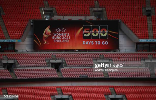 The Championship logo is pictured on a big screen during the UEFA Women's EURO 2021 500 Days To Go Media Event at Wembley Stadium on February 18,...