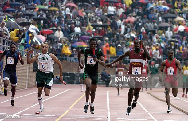The Championship of America boys 4 x 100meter final in the 111th Penn Relays at the University of Pennsylvania's Franklin Field in Philadelphia Pa on...
