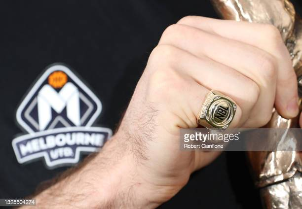 The championship ring of Mitch McCarron of Melbourne is seen during a Melbourne United NBL media opportunity after United won last night's NBL Grand...