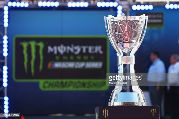 The championship trophy is displayed during driver introductions for the Monster Energy NASCAR Cup Series Championship Ford EcoBoost 400 at...