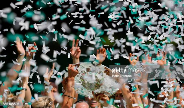 The Championship trophy is pictured during the celebration of the German Championship title following the Allianz Women's Bundesliga match between...