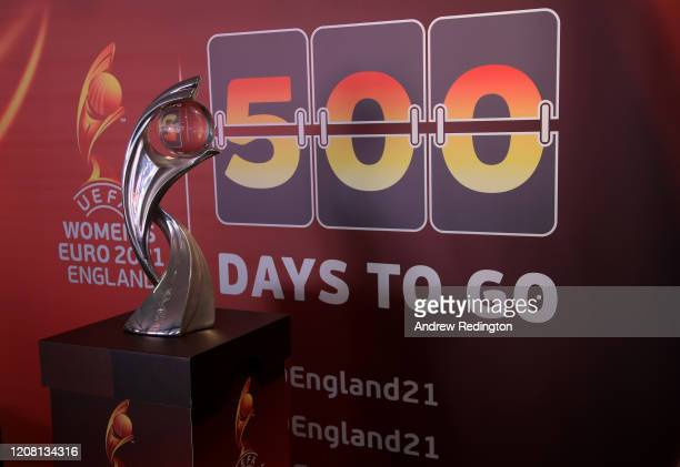 The Championship trophy is pictured during the UEFA Women's EURO 2021 500 Days To Go Media Event at Wembley Stadium on February 18, 2020 in London,...