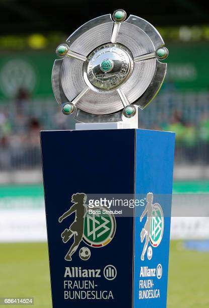 The Championship trophy is pictured prior to the Allianz Women's Bundesliga match between VfL Wolfsburg and FF USV Jena at AOK Stadion on May 21 2017...