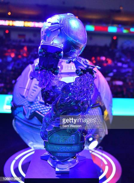 The championship trophy is seen before the grand finals match of the Rocket League Championship Series World Championship between team Dignitas and...