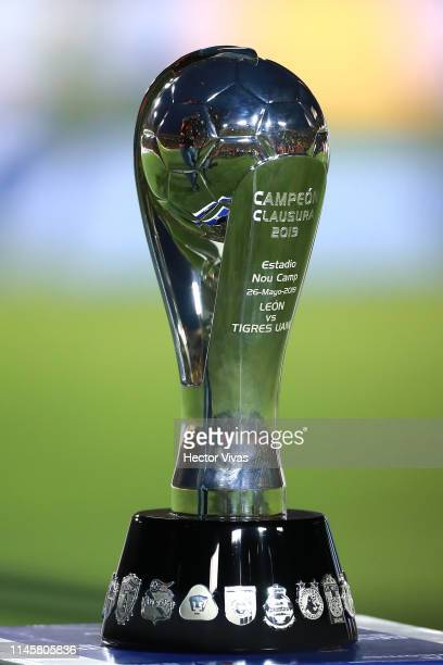 The Championship trophy is seen prior the Final first leg match between Tigres UANL and Leon as part of the Torneo Clausura 2019 Liga MX at...