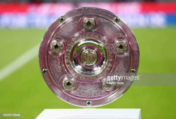 The championship trophy on display prior to the Bundesliga match between FC Bayern Muenchen and TSG 1899 Hoffenheim at Allianz Arena on August 24...
