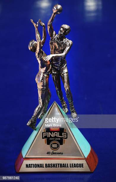 The Championship Trophy on side of court during game four of the NBL Grand Final series between the Adelaide 36ers and Melbourne United at Priceline...