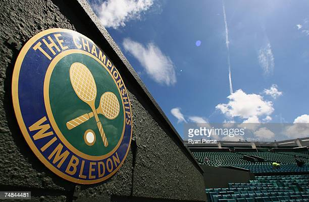 The Championships' logo is seen at Centre Court during previews for the Wimbledon Lawn Tennis Championships at the All England Lawn Tennis and...