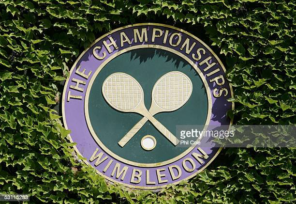 The Championships logo is seen on the third day of the Wimbledon Lawn Tennis Championship on June 22, 2005 at the All England Lawn Tennis and Croquet...
