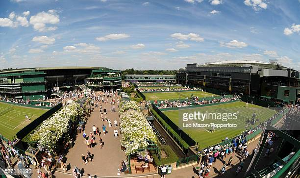 THe Championships Wimbledon London UK views of the grounds overlooking courts with Centre and Number 1 court in thee background