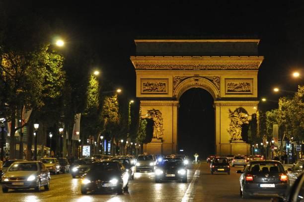 the champs elysees and the arc de triomphe paris france pictures