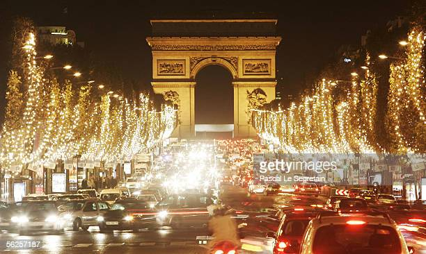 The Champs Elysees avenue is seen after the official Christmas lighting ceremony on November 22, 2005 in Paris, France.