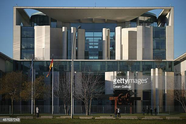 The Chancellery stands under morning sunlight on the day Angela Merkel Chancellor and Chairwoman of the German Christian Democrats Horst Seehofer...