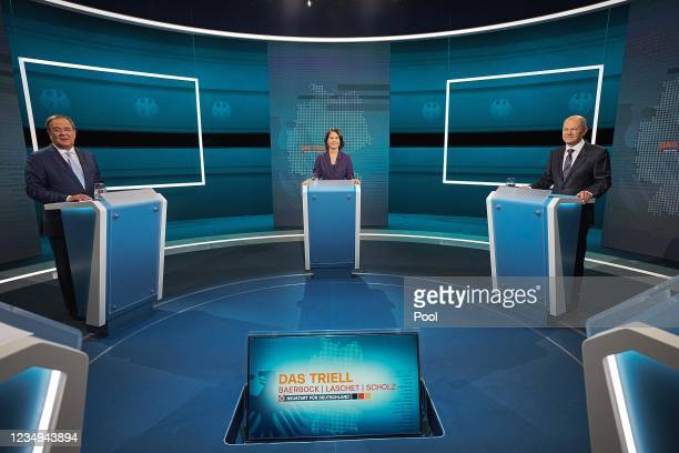 The Chancellor candidates Armin Laschet , Annalena Baerbock and Olaf Scholz attend the TV debate between the three candidates for Chancellor at the...