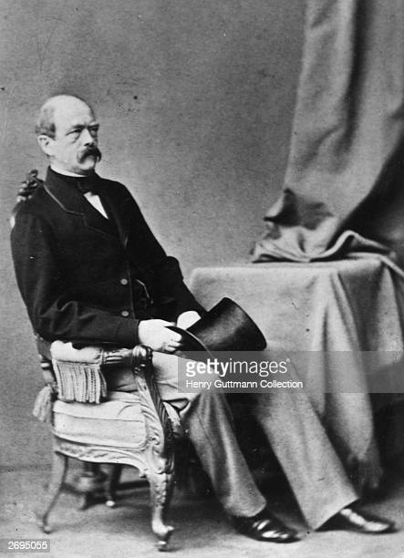 The Chancellor of Germany Prince Otto von Bismarck seated in a chair
